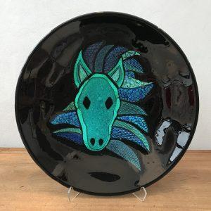 glas fad tallerken kunst blå